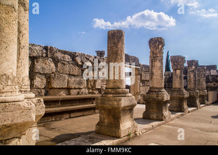 Jesus Synagogue ruins in Capernaum,Israel .Capernaum was a village in the time of the Hasmoneans, on the Sea of - Stock Photo