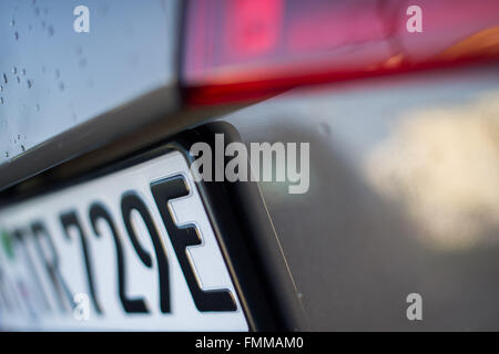 Hamburg, Germany. 09th Mar, 2016. A number plate on an electric car ends on the letter 'E' in Hamburg, Germany, - Stock Photo
