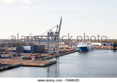 Finnsky freighter at Vuosaari Harbour - Stock Photo