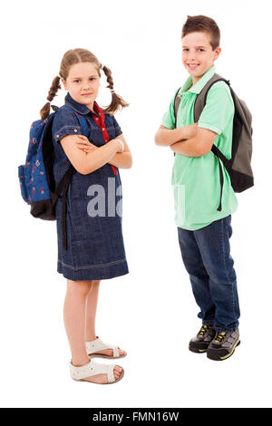 School children with backpacks, isolated on white - Stock Photo