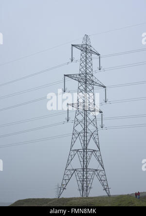 Electricity pylon and overhead power lines part of the the National Grid high voltage electricity transmission system - Stock Photo