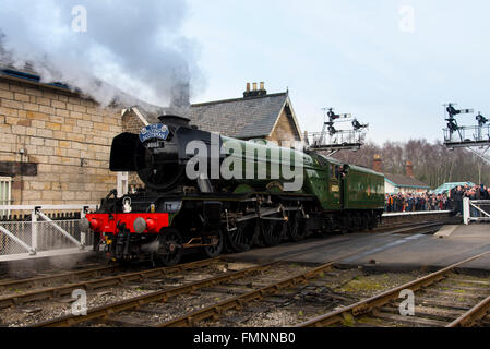 Grosmont, North York Moors, United Kingdom. 12th March, 2015. Following a £4.2 million overhaul, the LNER Class - Stock Photo