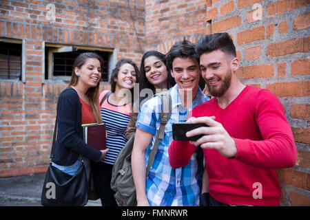 Five college students - Stock Photo