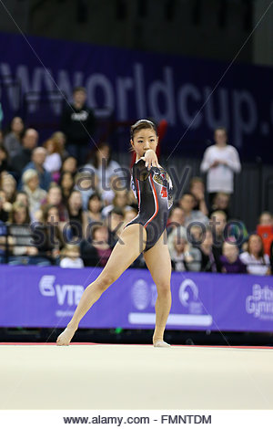 Glasgow, Scotland, UK. 12th March, 2016. Asuka Teramoto (JPN), on floor at Glasgow World Cup Gymnastics 2016.  Credit: - Stock Photo