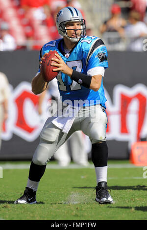 Tampa, Florida, UNITED STATES. 12th Oct, 2008. Oct 12, 2008; Tampa, FL, USA; Carolina Panthers quarterback Jake - Stock Photo
