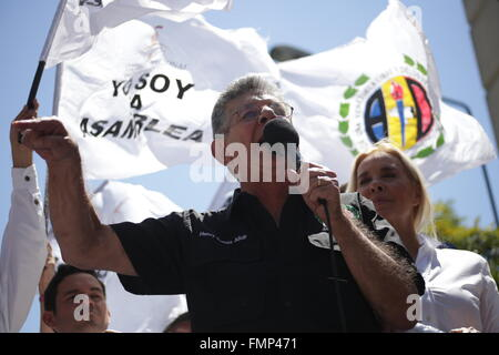(160313) -- CARACAS, March 13, 2016 (Xinhua) -- Henry Ramos Allup, President of Venezuela's National Assembly (AN), - Stock Photo