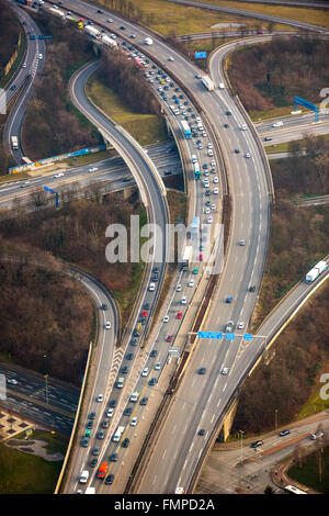 Traffic and congestion on the A42 motorway, transport infrastructure, Duisburg, Ruhr district, North Rhine-Westphalia, - Stock Photo
