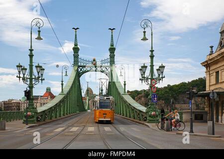 Tram on Liberty Bridge, Budapest, Hungary - Stock Photo