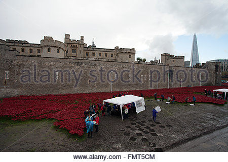 Some of 8.000 volunteers dismantling the Blood Swept Lands and Seas of Red exhibit, Tower of London, The Shard, - Stock Photo