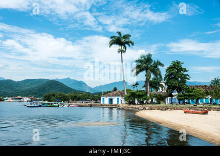 RIO DE JANEIRO, FEBRUARY, 15, 2016 - Tourist boats waiting for tourists in Paraty, state Rio de Janeiro, Brazil - Stock Photo