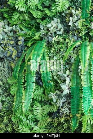 Artificial plant garden  of the vertical decoration set in food hall. - Stock Photo