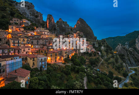 Castelmezzano in Basilicata, one of the most beautiful village in Italy - Stock Photo