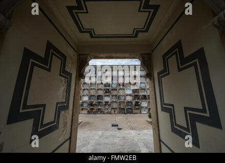 columbarium wall at Poblenou Cemetery - Cementiri de l'Est (East cemetery) in Barcelona, Spain - Stock Photo