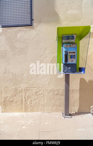 Public phone post in Tiana,Catalonia,Spain. - Stock Photo