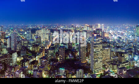 Evening cityscape of north east Tokyo from Tokyo Tower - Stock Photo