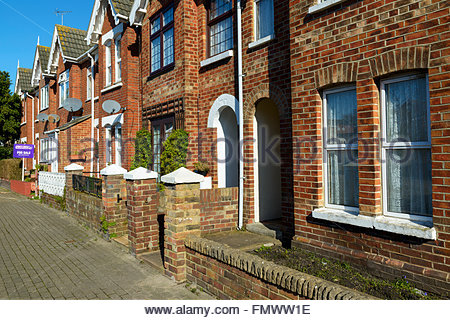 Victorian terraced houses, Poole, Dorset, England, UK Stock Photo
