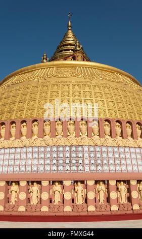 Close-up of stupa at Sitagu International Buddhist Academy in Sagaing near Mandalay, Burma (Myanmar) - Stock Photo