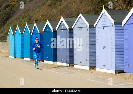 Bournemouth, Dorset, UK 13 March 2016 UK weather: glorious warm sunny day at Bournemouth beach as visitors head - Stock Photo