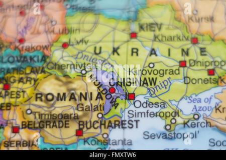 Moldova political map with capital Chisinau national borders Stock