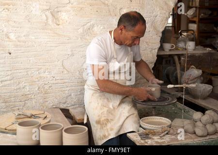 Paros Greece Studio Yria Ceramics Kostos Stock Photo