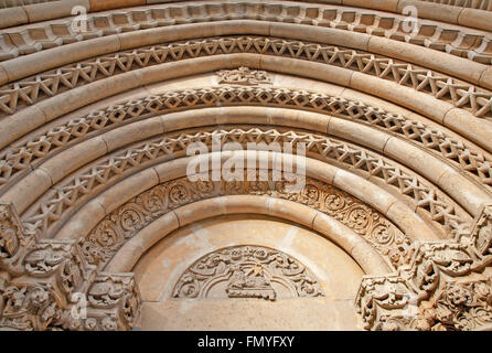 BUDAPEST, HUNGARY - SEPTEMBER 22, 2012 : Detail of from west portal on gothic Church of Jak near Vajdahunyad castle. - Stock Photo