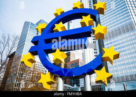 Frankfurt, Germany - January 27 : Euro Sign. European Central Bank (ECB) is the central bank for the euro and administers - Stock Photo
