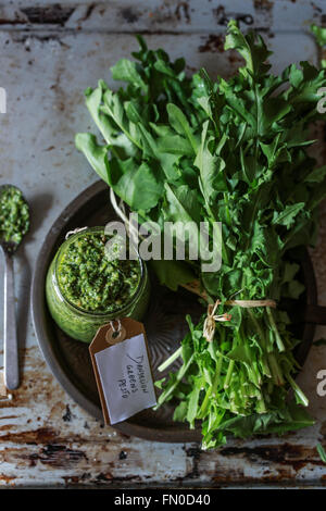 Bunch of fresh dandelions leaves and a jar of pesto - Stock Photo