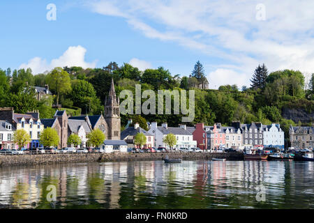 Colourful buildings overlooking harbour in picturesque Mull town of Tobermory on Isle of Mull Argyll & Bute Inner - Stock Photo