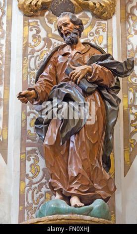 GRANADA, SPAIN - MAY 29, 2015: The carved statue of the apostle in church Nuestra Senora de las Angustias by Pedro - Stock Photo