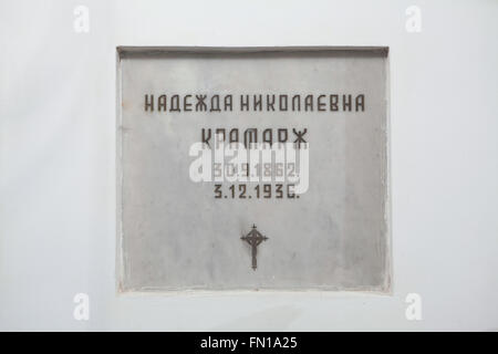 Grave of Nadezhda Kramar, a Russian wife of the first Prime Minister of Czechoslovakia Karel Kramar, in the underground - Stock Photo