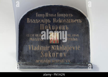 Grave of Russian general Vladimir Shokorov in the underground crypt of the Dormition Church at the Olsany Cemetery - Stock Photo