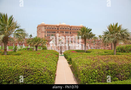 ABU DHABI, UAE - APRIL 27: Gate to the Emirates Palace hotel on April 27, 2014, UAE. Seven stars Emirates Palace - Stock Photo
