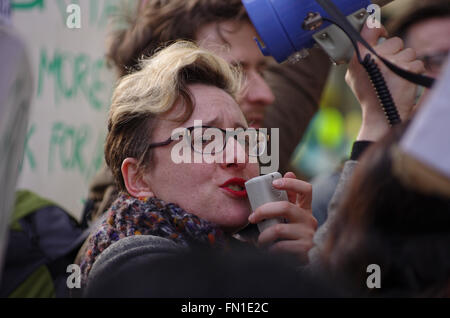 London, UK. 12th March 2016. Cleaners contracted to work at Topshop clothing store protest outside the flagship - Stock Photo
