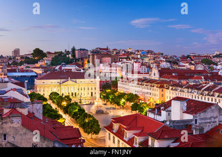 Lisbon, Portugal skyline over Rossio Square. - Stock Photo