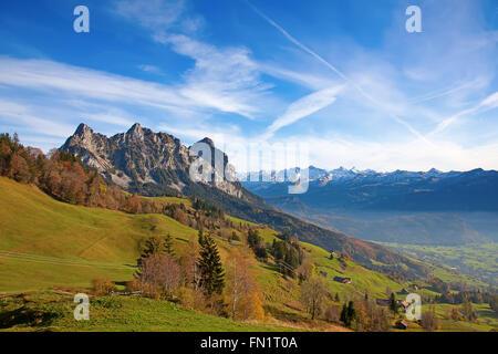 Autumn (indian summer) in swiss alps - Stock Photo