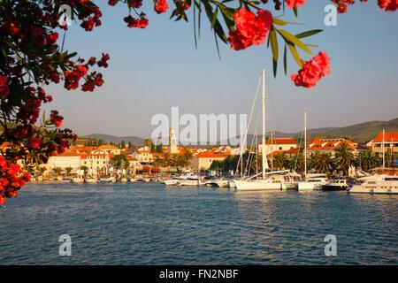 Vela Luka town in island Korcula - Stock Photo