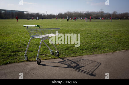 A shopping trolley is seen in Beckton District Park in east London March 13, 2016 - Stock Photo