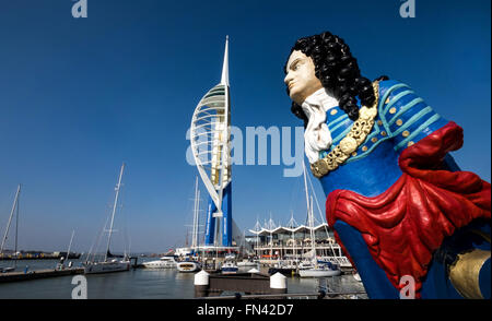 The Emirates Spinnaker Tower at Gunwharf Quays in Portsmouth - Stock Photo