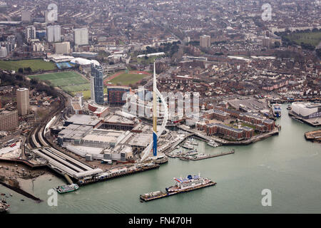 Aerial photo of Gunwharf Quays and the Emirates Spinnaker Tower in Portsmouth, Hampshire, UK - Stock Photo