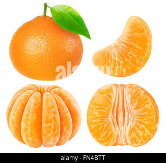 Collection of tangerine pieces isolated on white with clipping path - Stock Photo