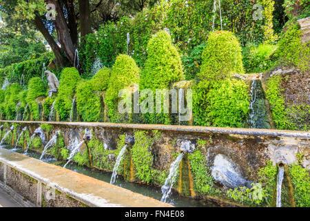 The Hundred Fountains (Le Cento Fontane) in the formal gardens, Villa d'Este, a villa in Tivoli, near Rome, Italy - Stock Photo