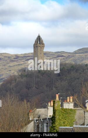 The monument to Sir William Wallace standing tall on Abbey Craig hill commemorating the patriot, martyr and hero - Stock Photo