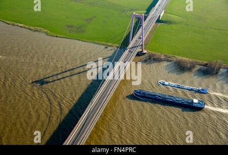 Aerial view, Emmerich Rhine Bridge, floodplains, cargo ships, cable-stayed bridge, Emmerich, Lower Rhine region, - Stock Photo