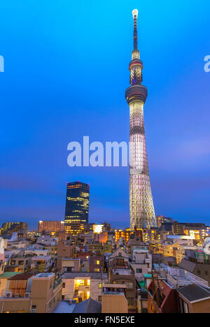 A blended night shot of the Skytree tower in Tokyo. - Stock Photo