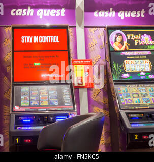 Stay in control message on fixed odds betting machine in Ladbrokes Bookmakers. England, UK - Stock Photo