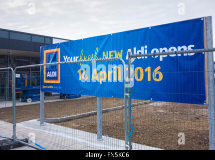 New Aldi supermarket under construction less than 100 metres from Asda store in Billingham, north east England - Stock Photo