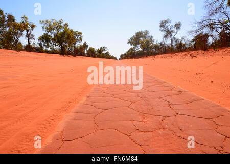Red dirt road to Cape Leveque, Dampier Peninsula, Kimberley Region, Outback, Western Australia, WA, Australia - Stock Photo