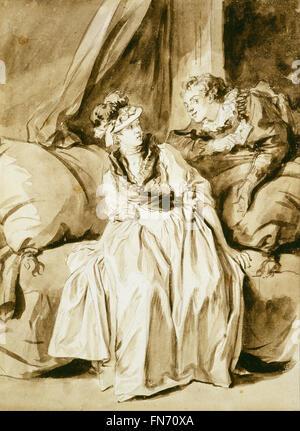 Jean Honoré Fragonard - The Letter or The Spanish Conversation - Stock Photo