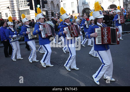 Irish accordion band during St Patrick Day Parade in London. - Stock Photo