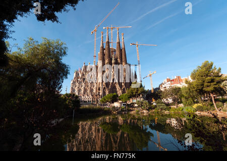 La Sagrada Familia, the cathedral designed by architect Gaudi and one of the main tourist attraction in Barcelona. - Stock Photo